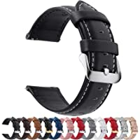 Fullmosa 12 Colors for Quick Release Leather Watch Strap, Axus Genuine Leather Watch Band 14mm Black