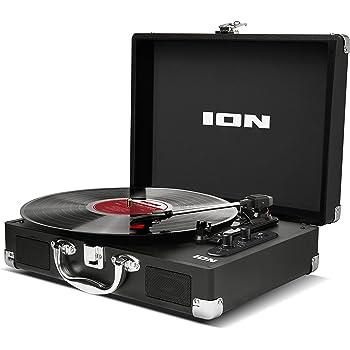 ION Audio Vinyl Motion Air - Giradischi Portatile a Tre Velocità (33 1/3, 45 e 78 Giri), con Tecnologia Bluetooth, Altoparlanti Stereo Integrati, Batteria Ricaricabile e Conversione Audio USB, Nero
