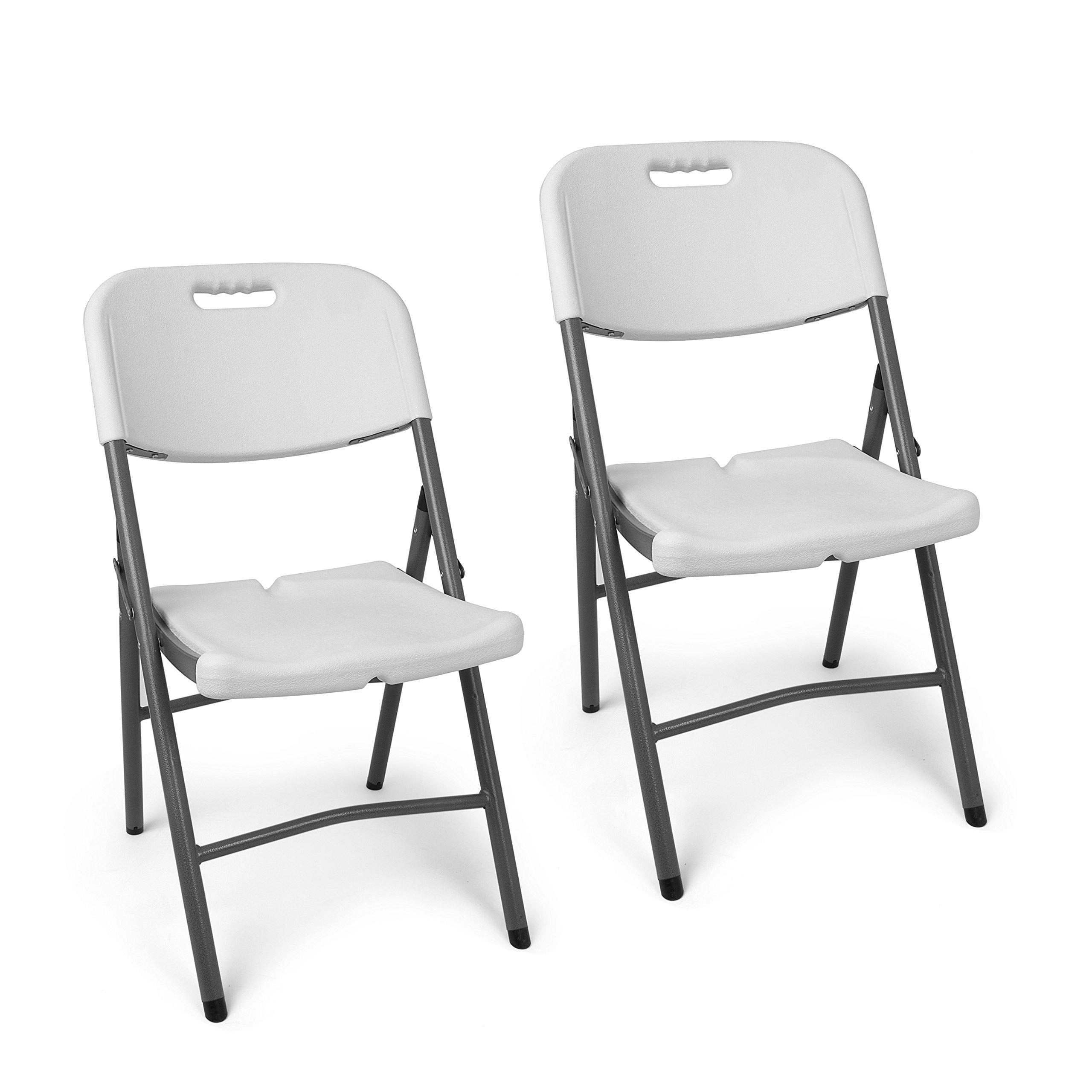 Set Sedie Pieghevoli da Giardino Bianche | 2x Sedie da Esterno ...