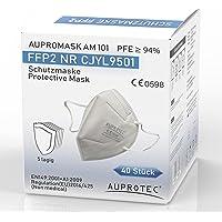 AUPROTEC 40 Stück FFP2 Maske Aupromask AM-101 Atemschutzmaske EU CE 0598 Zertifiziert EN149:2001+A1:2009 Mundschutz 5…