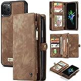 جراب محفظة لهاتف iPhone 11 Pro Max، جراب محفظة من جلد البقر الفاخر مصنوع يدويًا من AKHVRS ، غطاء محفظة بسحاب [إغلاق مغناطيسي]