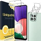 [2+3 Pack] UniqueMe Compatible con Samsung Galaxy A22 5G (No Galaxy A22 4G) Protector de Pantalla y Protector de Lente de cám