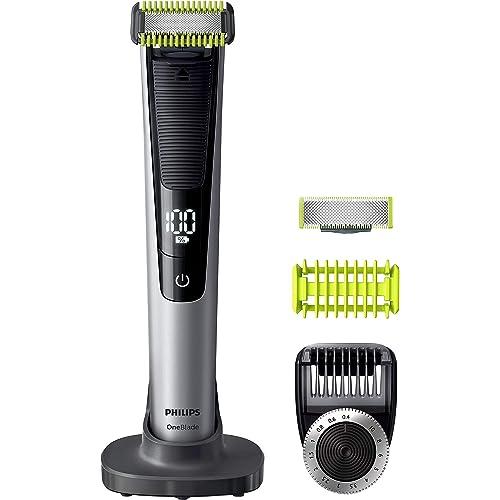 Philips QP6620/30 OneBlade PRO - Rasoio Face + Body Rade, Regola e Rifinisce la Barba, Utilizzo Wet&Dry, Contiene una lama per il Viso e una per il Corpo, Guaina Protettiva