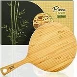 bambuswald© tagliere per pizza ecologico con manico 100% bambù circa 41x25,5x0,9 cm ideale per pizza e tarte flambée | Spingi
