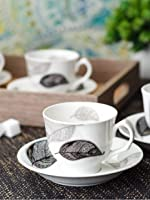 Bone China Cup Saucer Set with Black and White Leaf Design (Set of 12 Pcs)