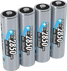 ANSMANN Akku AA Mignon Typ 2850mAh 1,2V - aufladbare AA Batterien mit hoher Kapazität & ohne Memory-Effekt - Batterien AA ideal für Kamera Blitzgerät Fernbedienung & Controller Akku uvm - 4 Stück