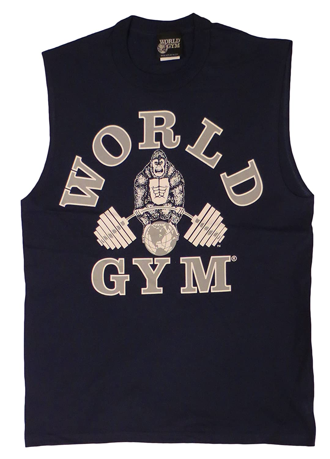 80d2313df8928 W190 World Gym sleeveless muscle shirt  Amazon.co.uk  Clothing