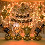 Birthday Party Decoration For Adult Golden Background Balloons Set With String Light for Men and Women- All Total 65 Pcs