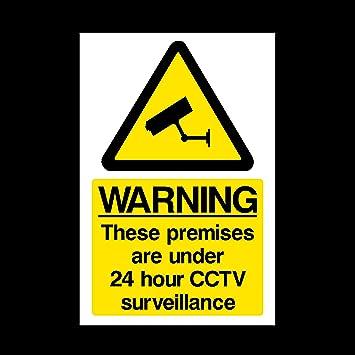Warning Premises Under Hour CCTV Surveillance Window Sticker - Window stickers amazon uk