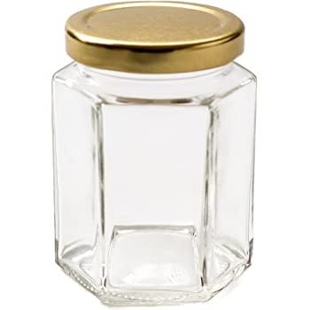 Nutley's 190ml Hexagonal Glass Jar, Gold Lid (Pack of 6)