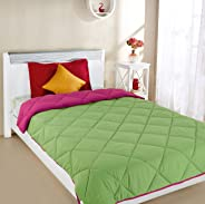 Amazon Brand - Solimo Microfibre Reversible Comforter, Single, Green and Red