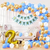 Party Propz 2nd Happy Birthday Balloons Decoration Kit Items Combo Blue Gold White-90Pcsfor Kids Boys Adult Men Husband Secon