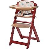 Safety 1st Timba 2760814000 wysokie krzesło z drewna z pasującymi poduszkami do siedzenia, czerwone