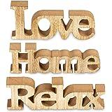 Set di 3 scritta in legno Love Home Relax - contenitori lettere Stampa su decorazione Natur braun gewischt