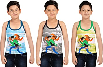 Red Rose Boys Cartoon Printed Vest (Pack of 3 Pcs.)