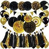 ZERODECO Decoración para fiestas, negro y dorado pompones de papel colgantes abanicos bandera de onda triangular guirnalda co