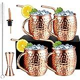 4Pcs 530ml Moscow Mule Mug avec 4 Pailles Cuivre et 1 Bec Verseur, Ensemble Verre Cocktail avec 1 Verre Doseur et 1 Brosse Ne