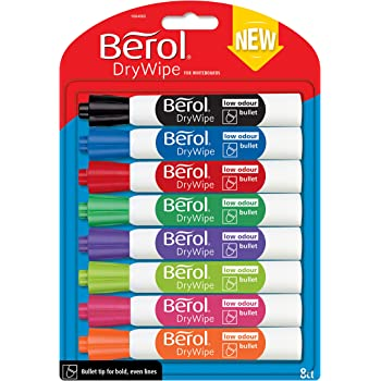 berol dry wipe bullet tip whiteboard marker assorted colours pack