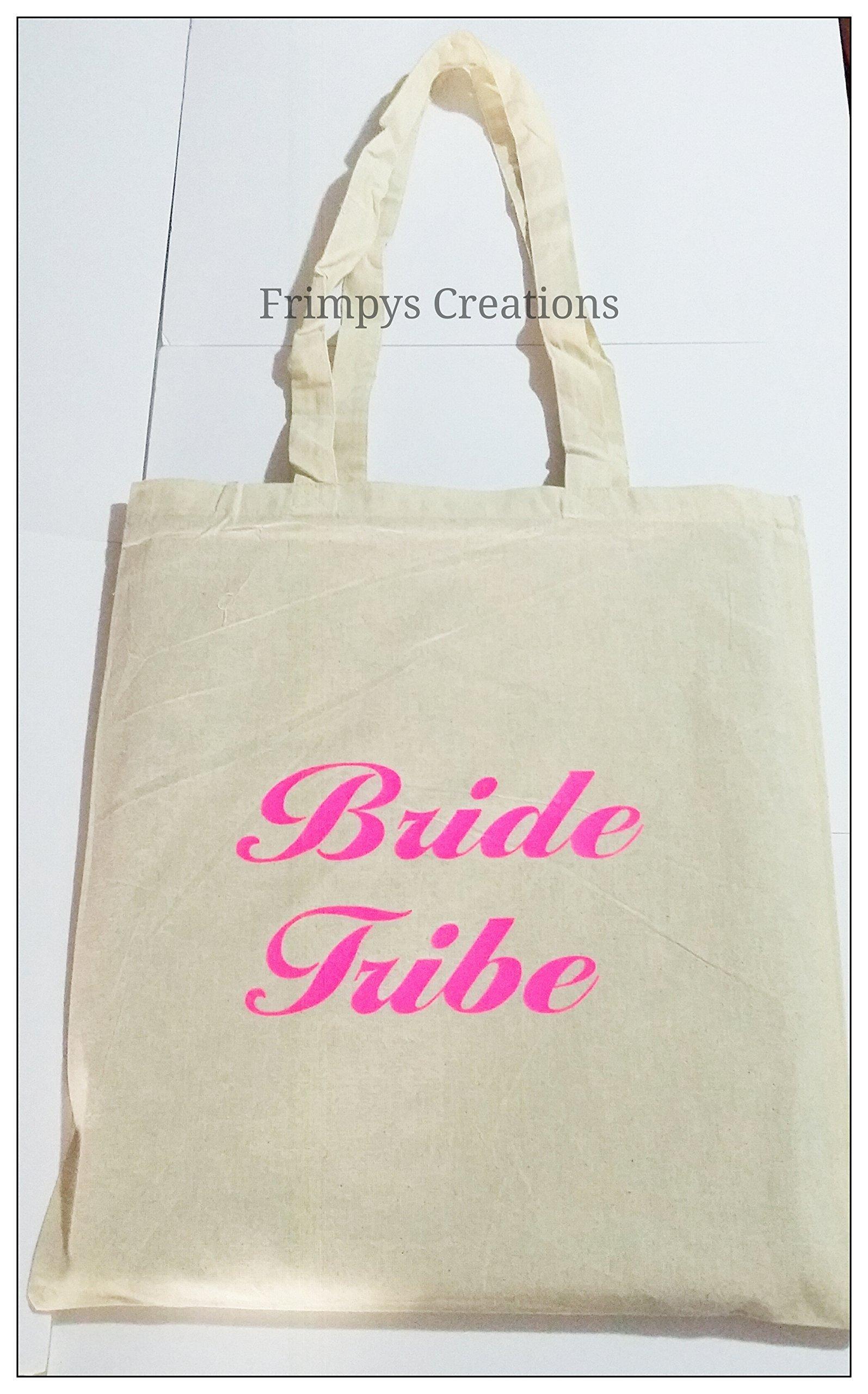 Wedding Favour Tote Bag cotton Printed Gift Present Keep Bride Tribe Novelty (BAG) - handmade-bags