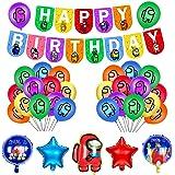 smileh Decoracion Cumpleaños Among Us Globos Pancarta de Feliz Cumpleaños Fiestas Cumpleaños Juegos Decoraciones