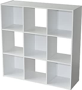Compo Meuble de Rangement 9 Casiers Bibliothèque Etagères Cubes Blanc 92 x 29,5 x 92 cm