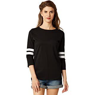 Miss Chase Women's Black Round Neck 3/4th Sleeves Solid Regular Basic Top
