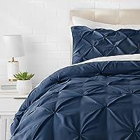 AmazonBasics Pinch Pleat Comforter Bedding Set, Twin, Navy Blue