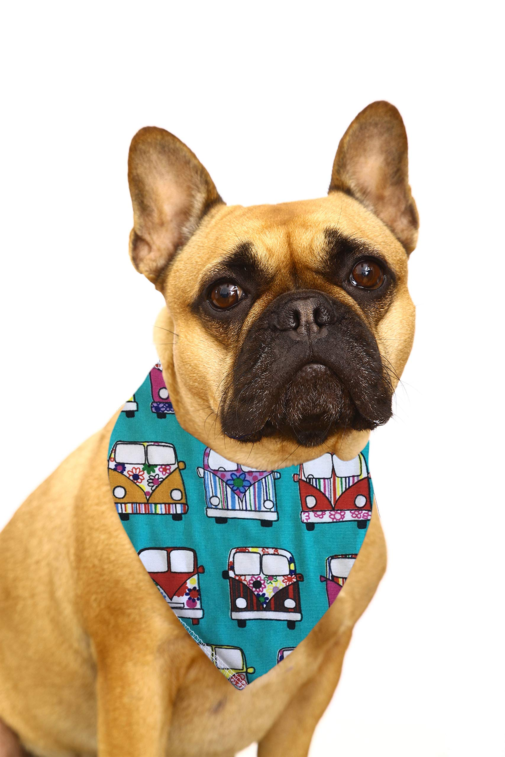Spoilt Rotten Pets (S2) Branded Turquoise VW Camper Fabric Dog Bandana, Adjustable Neck to Fit Small To Medium Dogs – Neck Size 11″ – 16″ Generally Fits Cocker Spaniel, Border Terrier, Jack Russell, Westies and Shih Tzu Sized Dogs.