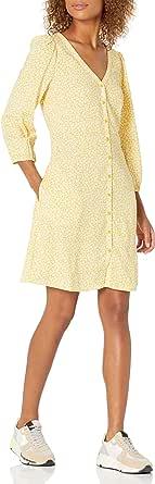 Goodthreads Georgette Kleid mit 3/4-ärmeln und Knopfleiste Vestito Donna