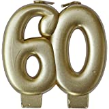Wanna Party 60th Birthday Golden Candle, 3 Inch