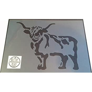Shabby Chic Highland Cow head plastic Stencil sheet A4 297x210mm Wall art Des F