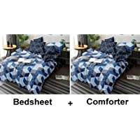 Kuber Industries Square Design Glace Cotton AC Comforter King Size Bed Comforter, Double Bed Sheet, 2 Pillow Cover (Blue, 90x100 Inches)-Set of 4 Pieces-CTKTC033192