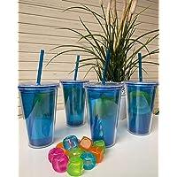 Lot de 4 verres en plastique acrylique double paroi avec couvercle à visser et paille réutilisable de 500 ml - Sans BPA…