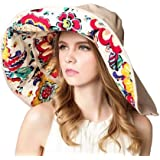 WSLCN Womens Elegant Wide-Brimmed Bowler Hat Brim Foldable Sunscreen UV Protection Beach Sun Hat Lace Flower