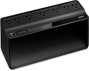 APC BE600M1 Back-UPS 600VA 7-outlet Uninterruptible Power Supply (UPS) with USB Charging Port