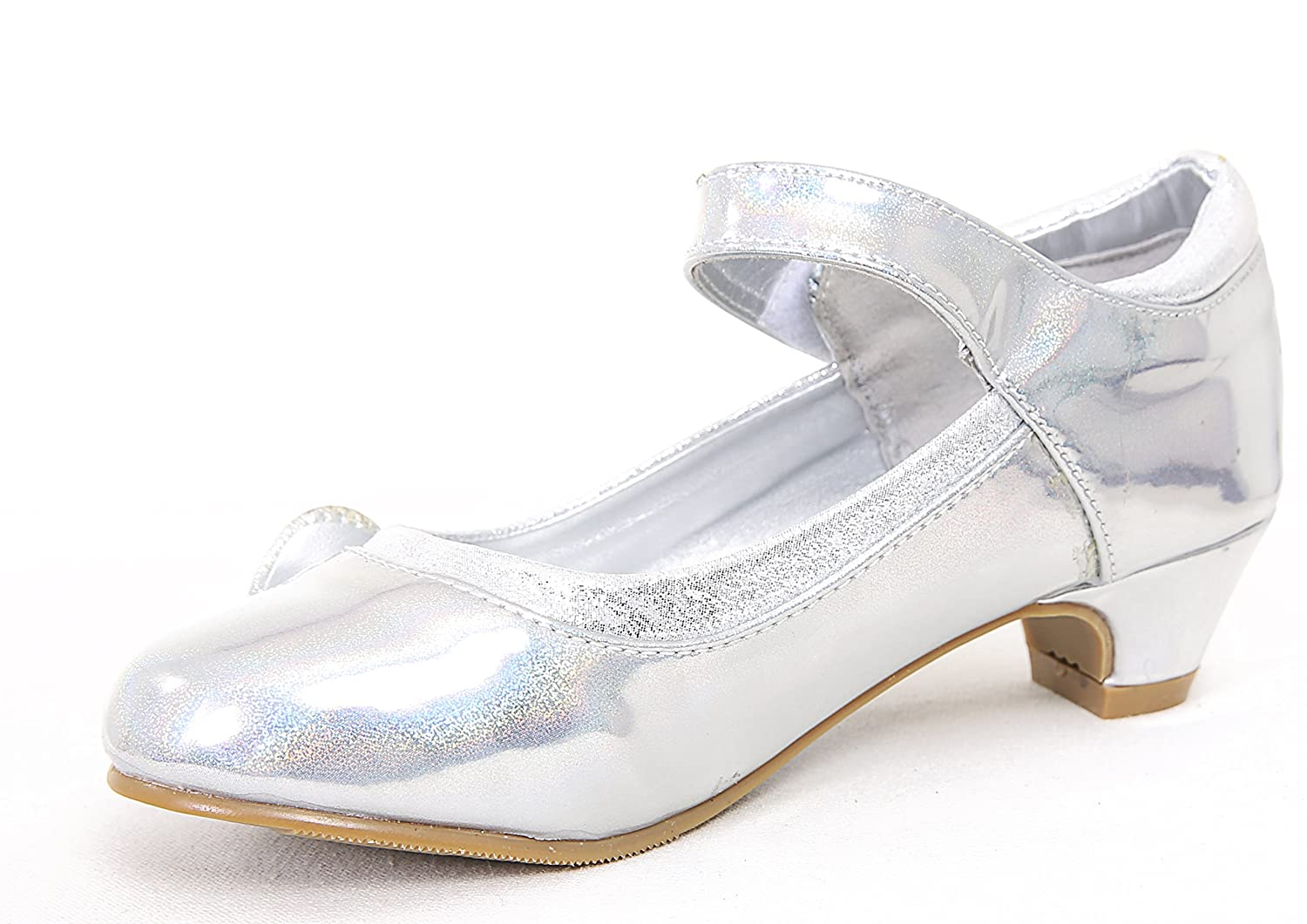 (BS-52) - NEW GIRLS KIDS CHILDRENS SHINY METALLIC DRESSY DIAMANTE BOW STONE  LOW KITTEN HEEL PARTY WEDDING SANDALS COURT SHOES ALL SIZES: Amazon.co.uk:  Shoes ...