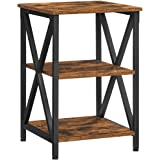 VASAGLE Petite Table d'appoint, Table de Nuit, Table de Chevet en métal, avec Design en X, 2 étagères de Rangement, Style Ind
