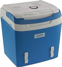 EZetil Kühlbox E26 M tragbare thermo-elektrische Kühlbox, 24 Liter, 12 V und 230 V für Auto/LKW/Boot/Steckdose, blau-weiß