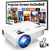 DR.Q HI-04 Projector with Projection Screen 1080P Full HD Supported, Upgraded 6000 Lumen Video Projector Compatible with…