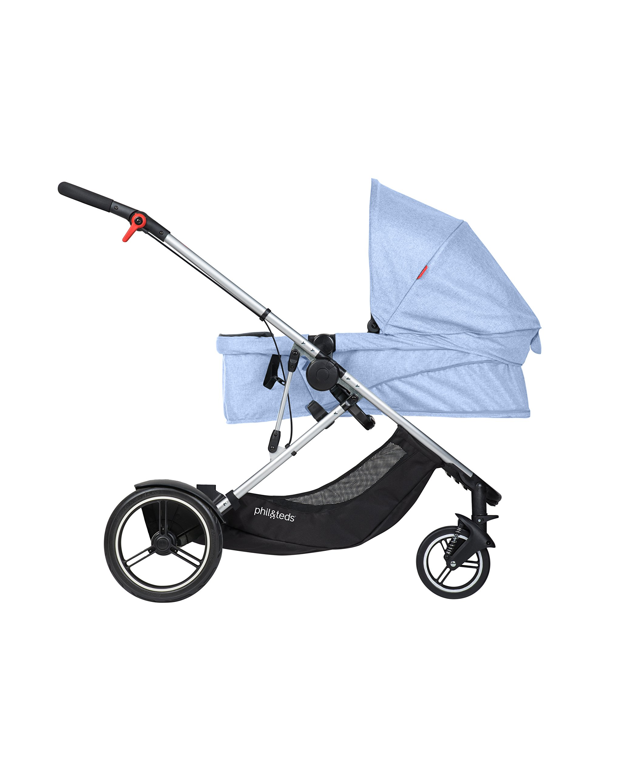 phil&teds Voyager Buggy Pushchair, Blue phil&teds 4-in-1 modular seat with four modes: parent facing, forward facing, lay flat bassinet (on buggy) and free standing bassinet (off buggy) Revolutionary stand fold with 2 seats on Double kit easily converts to lie flat mode as well 3