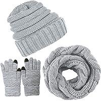Yutdeng Inverno Cappello Sciarpa Set Guanti Touch Screen Berretto Guanti con Sciarpa e Hat Coordinati invernali da Donna…