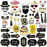 Konsait 55pcs 18 Ans Anniversaire Accessoires de photobooth , Noir et Or 18 Ans Anniversaire décorations Filles garçons, Four
