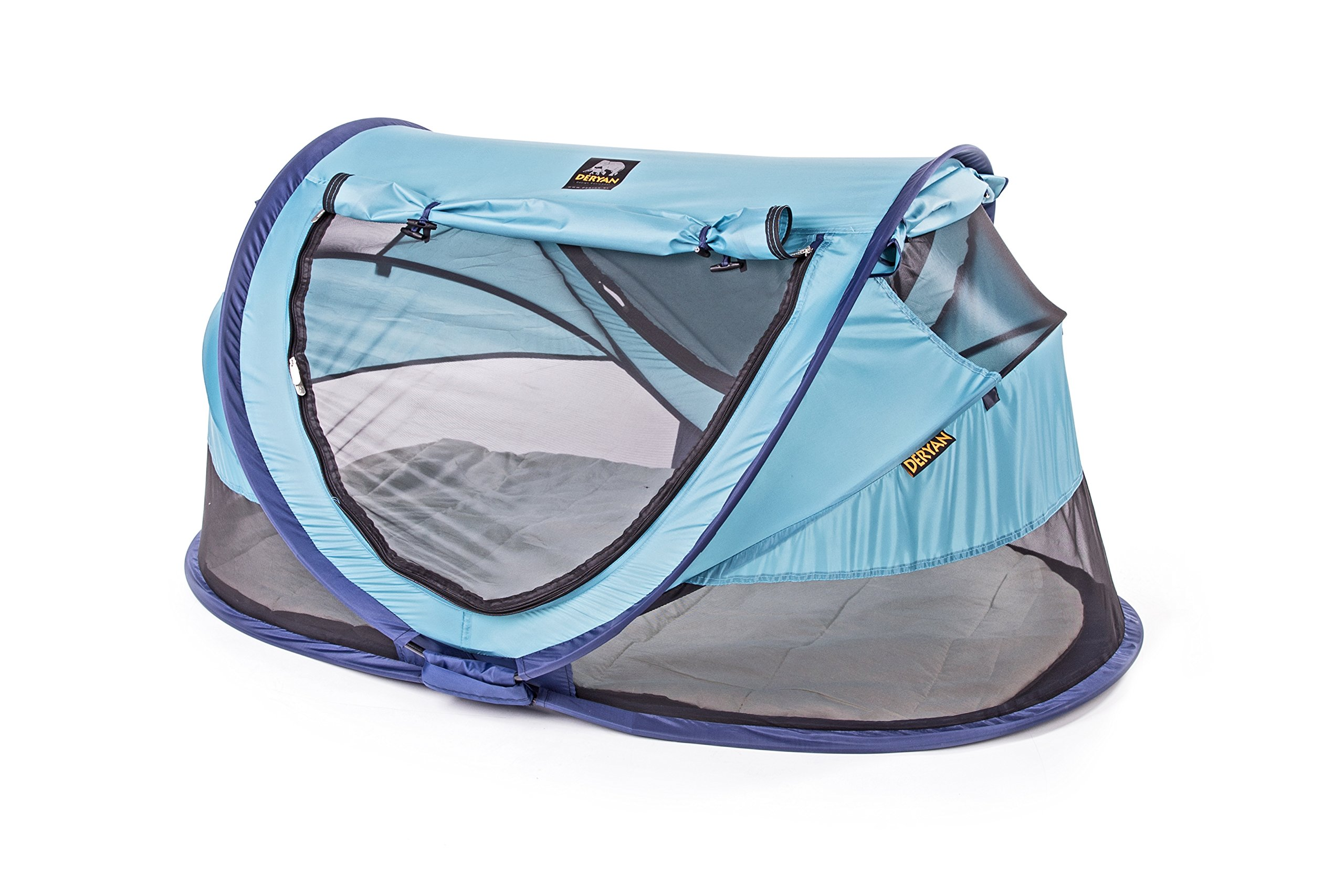 Travel Cot Peuter Luxe (Ocean) Deryan 50% UV Protection and flame retardant fabric Setup in 2 seconds and a anti-musquito net  4