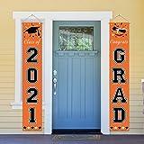 Dazonge Orange Graduation Decorations 2021 - Class of 2021 & Congrats Grad Banner for Front Door/Porch/Entrance Decor - Gradu