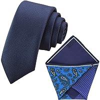 GASSANI Set Cravatta Sottile a Quadretti e Pochette 4 Trame