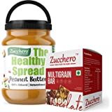 Zucchero 100% Natural Peanut Butter, Crunchy, 2.5 kg (Combo Pack: Multigrain Box of 10 Bars Free)