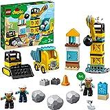 LEGO 10932 DUPLO byggplats med rivlampa, byggsats med lastbilar, kran och hjullastare, leksaker för småbarn från 2 år