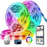 DreamColor LED-strip 10m, TASMOR LED-strip RGB+IC, LED-strip compatibel met Alexa Google Home APP-bediening, zelfklevende syn