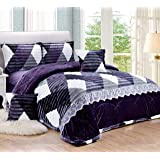 Geometric Winter fur Comforter Set 4 Pcs Dark Purple, Single Size, JQFK-001