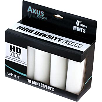 Axus Décor HD Foam Mini Roller Sleeve - White (Pack of 10)